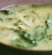 Chicken Soup with Sea Spaghetti, Spinach & Dill