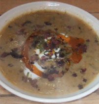 Mixed seaweed and  Jerusalem artichoke soup