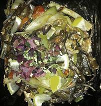 Seaweed and vegetable 'tagliatelle' with chilli, crab & lemon