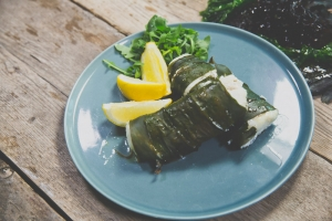 Kombu Wrapped grilled fish